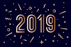 2019, Happy New Year. Greeting card Happy New Year 2019. 2019, Happy New Year, gold. Greeting card with golden year 2019. Memphis geometric gold style for Happy vector illustration