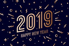 2019, Happy New Year. Greeting card Happy New Year 2019. 2019, Happy New Year, gold. Greeting card with golden text Happy New Year 2019. Memphis geometric gold stock illustration