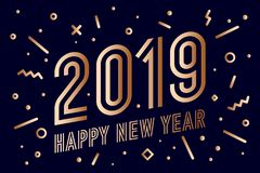 2019, Happy New Year. Greeting card Happy New Year 2019. 2019, Happy New Year, gold. Greeting card with golden text Happy New Year 2019. Memphis geometric gold vector illustration