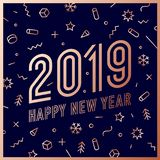 2019, Happy New Year. Greeting card Happy New Year 2019. 2019, Happy New Year, gold. Greeting card with golden text Happy New Year 2019. Memphis geometric gold royalty free illustration