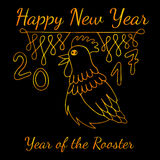 Happy New Year greeting card with gold line rooster. On background Royalty Free Stock Photo