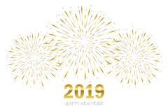Happy new year greeting card 2019 with gold and silver firework vector illustration