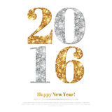 Happy New Year Greeting Card with Gold and Silver Numbers. Royalty Free Stock Photos