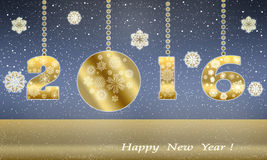 Happy New Year greeting card in 2016 from gold snowflakes. 2016 New Year. Happy holidays from the premise of snowflakes. Schematic diagram of the greetings of Stock Image