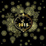 Happy New Year 2015. Greeting New year card in 2015.  Gold watch, five minutes before the New Year Royalty Free Stock Photo