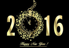 Happy New Year 2016. Greeting New year card in 2016.  Gold watch, five minutes before the New Year Stock Photo