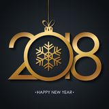 2018 Happy New Year greeting card with golden christmas ball and snowflake on black background. Vector illustration Stock Image