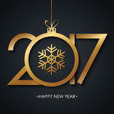 2017 Happy New Year greeting card with golden christmas ball and snowflake on black background. Vector illustration Royalty Free Stock Photo