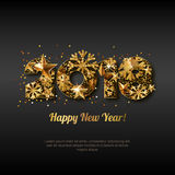 Happy New Year 2018  greeting card with golden numbers. Abstract holiday black glowing background. Stars and snowflakes with gold shining pattern. Concept for Stock Photo