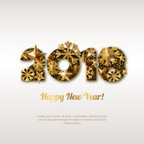 Happy New Year 2018  greeting card with golden numbers. Abstract holiday glowing background. Stars and snowflakes with gold shining pattern. Concept for New Royalty Free Stock Photography