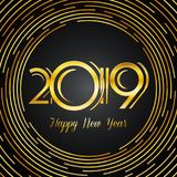 Happy New Year 2019 Greeting Card - Golden Numbers on Dark Backg. Round with Round Lines Design | EPS10 Vector Illustration Royalty Free Stock Image