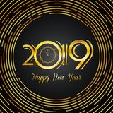 Happy New Year 2019 Greeting Card - Golden Numbers on Dark Backg. Round with Round Lines Design | EPS10 Vector Illustration Stock Photo