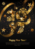 Happy New Year 2017  greeting card with golden numbers.  Royalty Free Stock Images