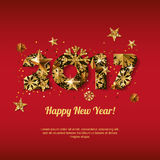 Happy New Year 2017 greeting card with golden numbers. Holiday red glowing background. Stars and snowflakes with gold pattern. Concept for New Year banner vector illustration