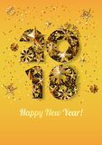 Happy New Year 2018 greeting card with golden numbers. Holiday yellow glowing background. Stars and snowflakes with gold pattern. Concept for New Year banner Royalty Free Illustration