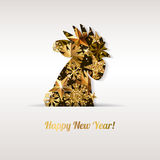 Happy New Year 2017  greeting card with golden rooster. Chinese calendar decoration. Stock Photos