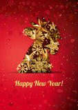 Happy New Year 2017 greeting card with golden rooster on red background. Chinese calendar decoration. Gold cock, symbol of 2017. Concept for holiday banner Stock Illustration