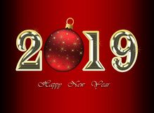 Happy New Year 2019 Greeting Card - Golden Shiny Numbers on Dark Background royalty free stock images