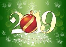 Happy New Year 2019 Greeting Card - Golden Shiny Numbers on green Background royalty free stock photos