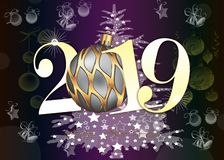 Happy New Year 2019 Greeting Card - Golden Shiny Numbers on violet Background stock images