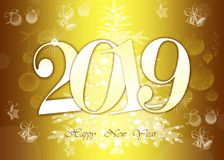 Happy New Year 2019 Greeting Card - Golden Shiny Numbers on yellow Background royalty free stock image