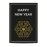 Happy New Year greeting card golden snowflake Stock Images
