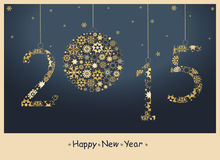 Happy New Year 2015 greeting card. From golden snowflakes stock illustration
