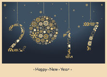 2017 Happy New Year greeting  card. 2017 Happy New Year greeting card from golden snowflakes Stock Photography