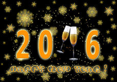 Happy New Year 2016. Greeting New year card in 2016. Golden snowflakes and glasses of champagne on the eve of the new 2016 Stock Photo