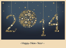 2014 Happy New Year greeting card. 2014 Happy New Year greeting card from golden snowflakes. Vector Royalty Free Stock Photos