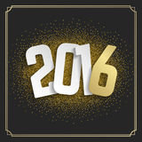 Happy New Year 2016 Greeting card and Golden. Sparkles Confetti. Good for Party Poster, Banner or Invitation Design. Numbers 2016, New Year 2016, Happy New Year Stock Image