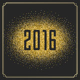 Happy New Year 2016 Greeting card and Golden Royalty Free Stock Photo