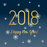 Happy New Year 2018 greeting card with golden text. Available in vector format Stock Photography
