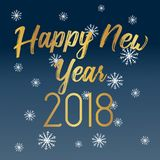 Happy New Year 2018 greeting card with golden text. Available in vector format Royalty Free Stock Photos
