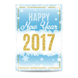 Happy New Year 2017 greeting card golden text and snowflakes. Happy New Year 2017 greeting card. Blue background with bokeh, snow, fog and snowflakes. Gold and Stock Photo