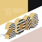 Happy New Year 2018  greeting card with golden textured numbers in 3d isometric style. Abstract holiday design elements and background for New Year banner Stock Images