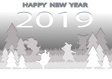 Happy new year greeting card on gray background with showflakes pattern. Vector winter numbers 2019 poster design. Happy new year greeting card on gray vector illustration