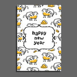 Happy new year greeting card with griffin and clouds Royalty Free Stock Photo