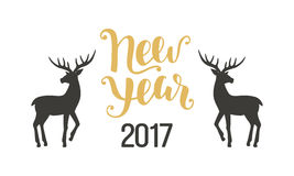 Happy New Year greeting card with hand drawn deers Royalty Free Stock Image