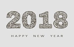 2018 Happy New Year greeting card. with hand-drawn doodles.for banners, posters, flyers. Abstract background. Vector. 2018 Happy New Year greeting card. with stock illustration