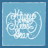 Happy New Year greeting card. Hand lettering. Handmade calligraphy, HNY logo Stock Image
