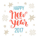 Happy New Year 2017 greeting card. Hand lettering in red and blue colors. Trendy typography design for placards, labels, badges, posters, banners. Modern royalty free illustration