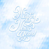 Happy New Year. New Year greeting card. Hand made lettering on triangle background Royalty Free Stock Image
