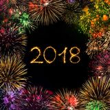 Greeting card Happy New year 2018. Happy New year 2018. Greeting card with hand-made text 2018 and various colorful fireworks on black background. Multicolored Royalty Free Stock Images