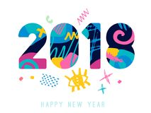 2018 Happy New Year greeting card. With abstract elements on white background. Hand drawn  illustration. Colorful brightly style Stock Photography
