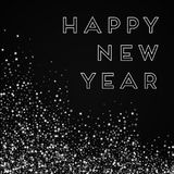 Happy New Year greeting card. Amazing falling stars background. Amazing falling stars on black background. Graceful vector illustration Royalty Free Stock Photo