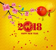 Happy new year 2018 greeting card and chinese new year of the dog Royalty Free Stock Image