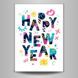 2018 Happy New Year. Greeting card. Happy New Year. Greeting card. Hand drawn  elements. White background. Colorful design Royalty Free Stock Photo