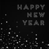 Happy New Year greeting card. Random falling stars background. Random falling stars on red background. Graceful vector illustration Royalty Free Stock Photo