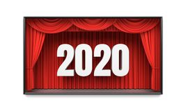Happy New Year greeting card. Red stage curtains revealing year 2020 number. Graphic design element for premiere announcement, party invitation poster, flyer Stock Photography